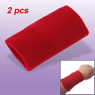 Red Athletic Badminton Wrist Sports Wristband Sweatband 2pcs