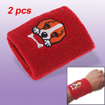 Dog PatternWristband Red Sweatband Runner Exercise 2pcs