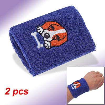 Elastic Dog Decor Wristband Sweatband Terrycloth Band Blue 2pcs