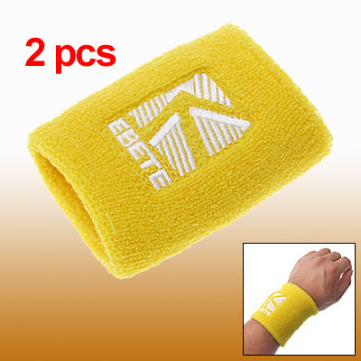 Sports Wristband Tennis Sweatband Soft Terrycloth Yellow 2pcs