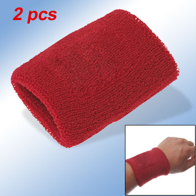 Red Sports Stretchy Terrycloth Wrist Band Tennis Sweatband 2pcs