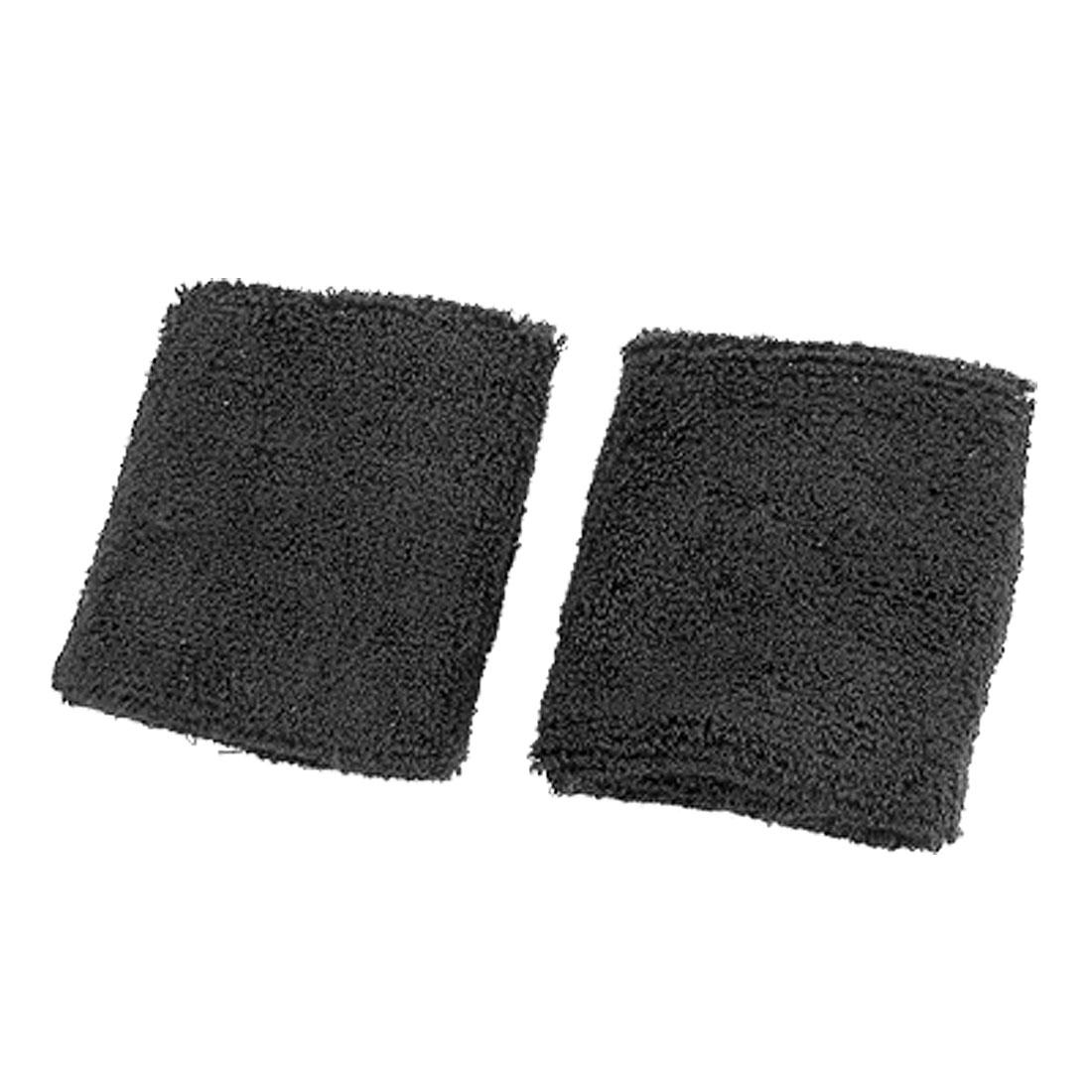 Black Elastic Terrycloth Sports Badminton Tennis Wristband 2PCS
