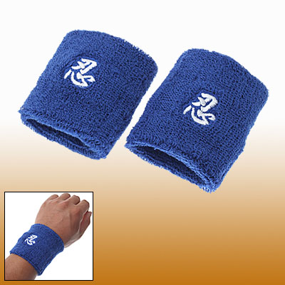 Pair Blue Stretch Wrist Terry Cloth Support Wristband for Sports
