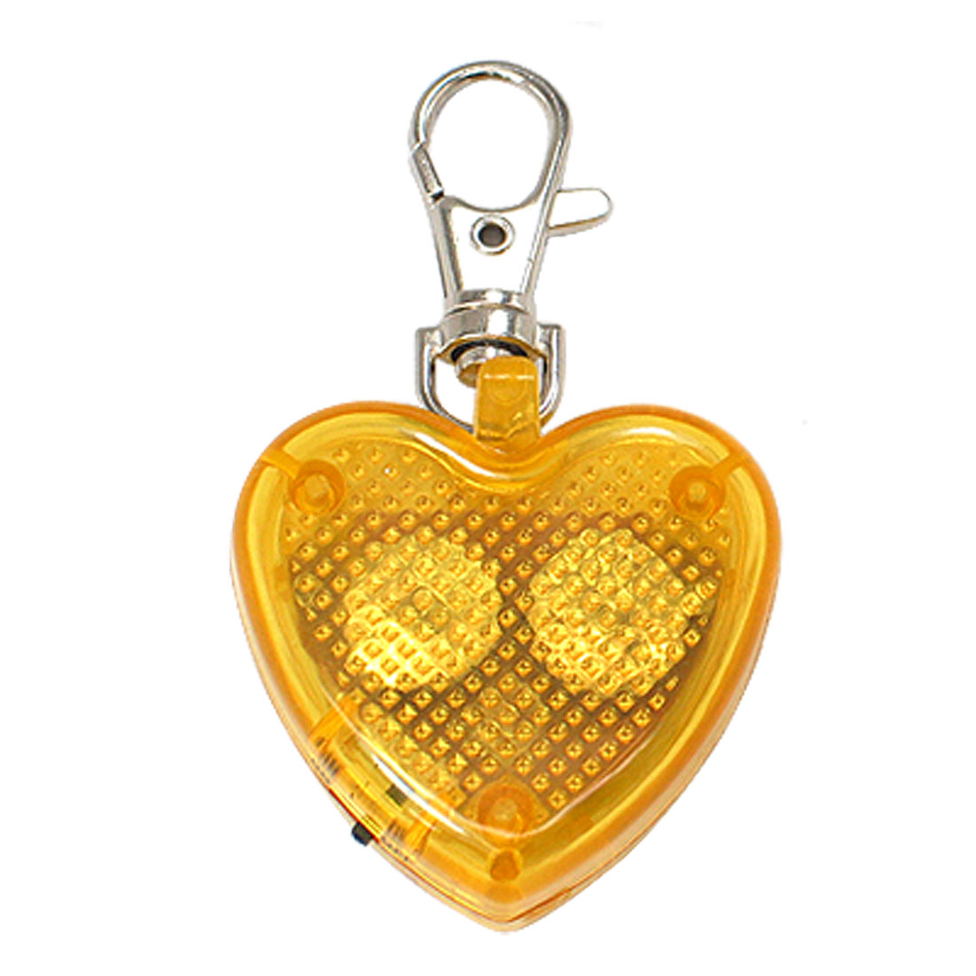 Yellow Heart Flash LED Light Lobster Clasp Key Chain