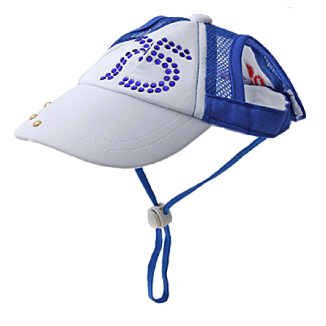 Sports Size M Crystal Decor Cap for Puppy Blue White