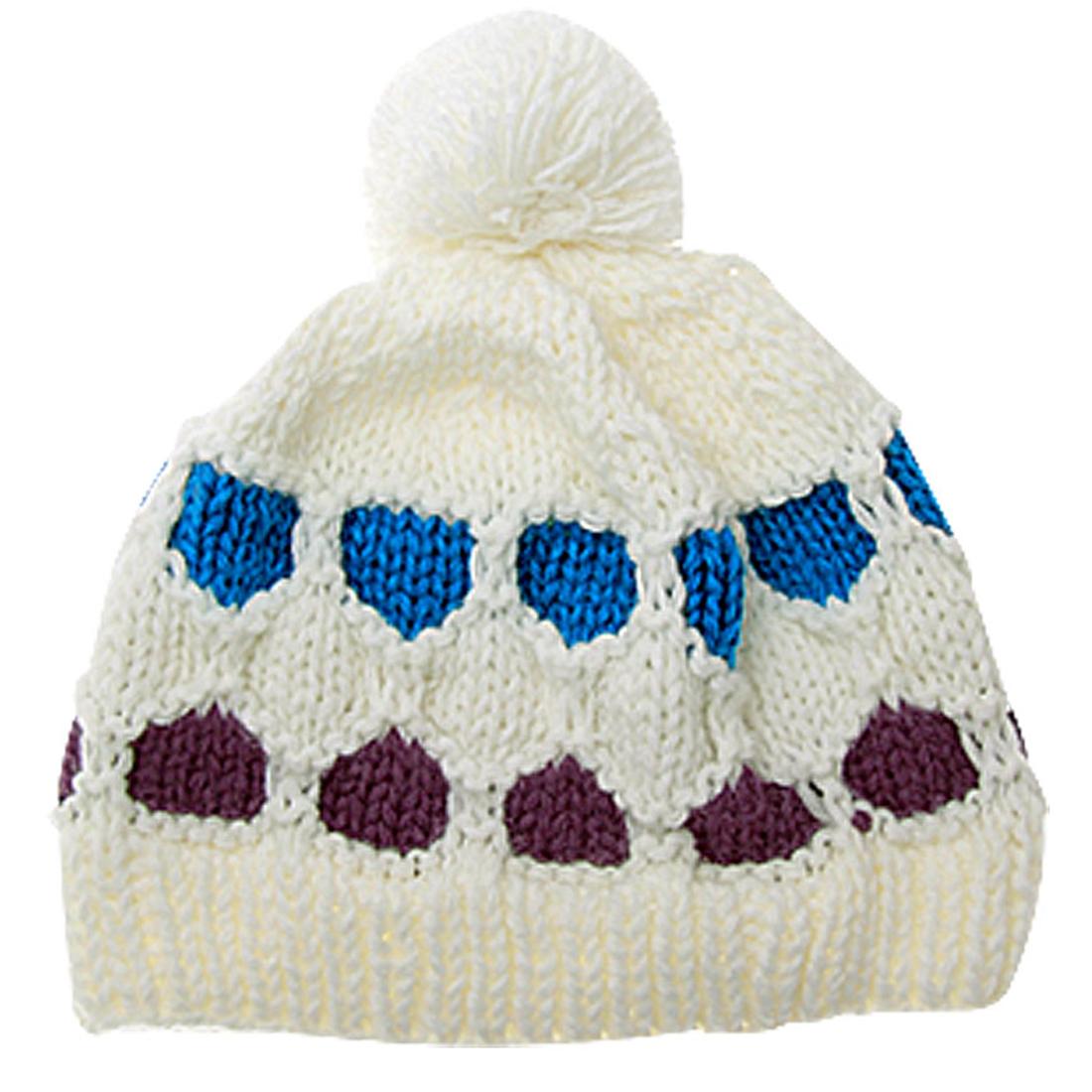 Ladies Crochet Knit Pom Pom Skull Cap Warm Beanie Hat Qpurn