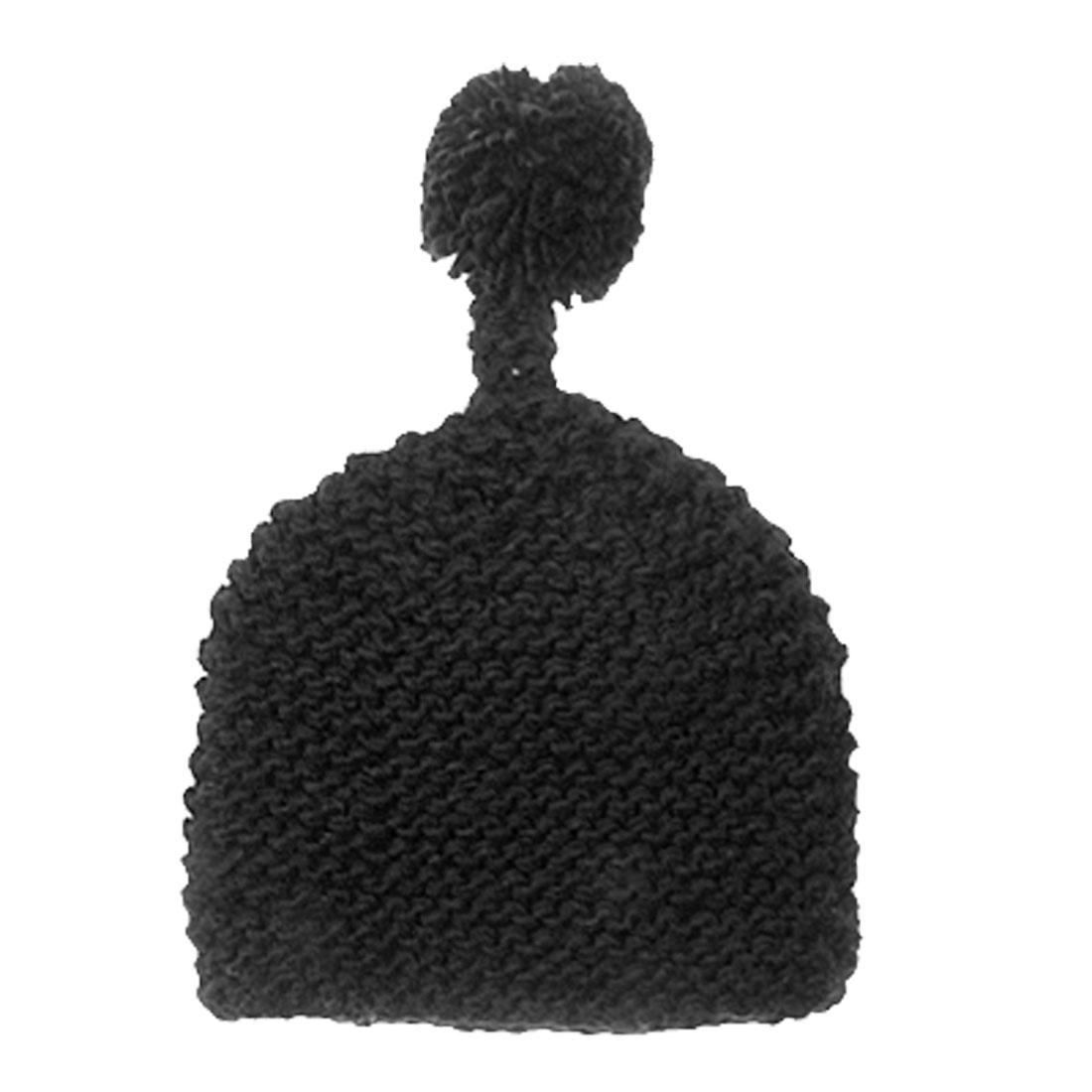 Ladies Hand Knit Pom Hat Winter Warm Beanie Cap Black