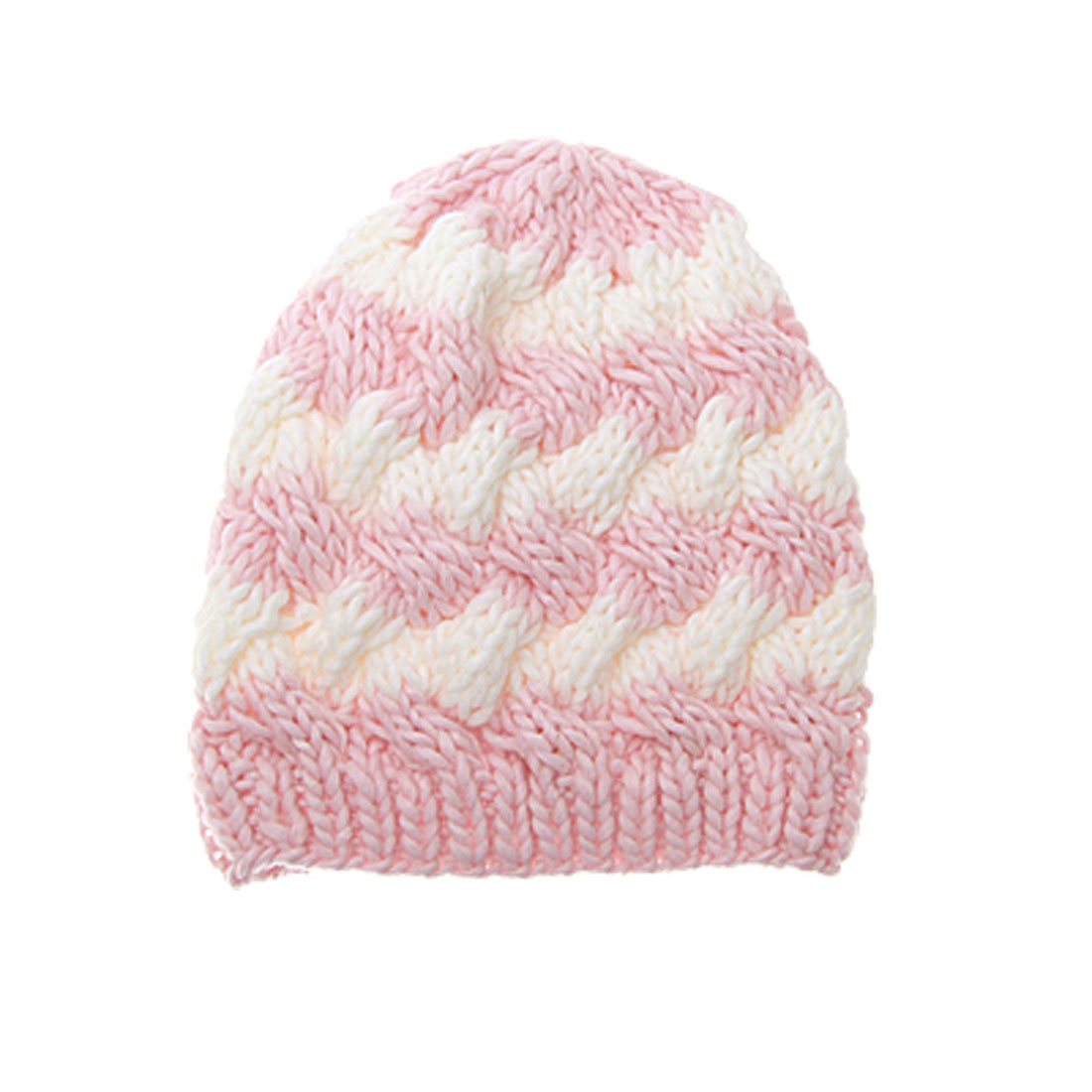 Ladies Pink White Beanie Cap Warm Cable Knit Skull Hat
