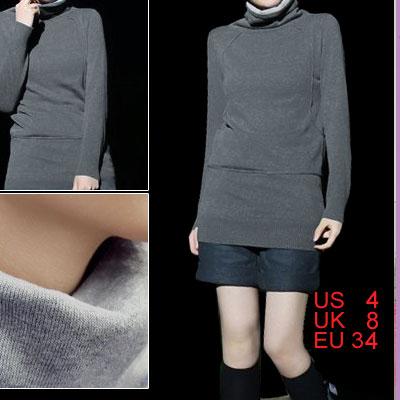 Black Gray Turtle Neck Ladies Warm Knit Sweater Top Size S