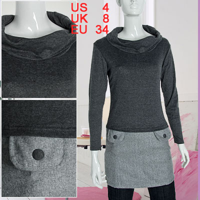 Cowl Neck Ladies Dark Gray Sweater Top Twinset Style Dress Size S
