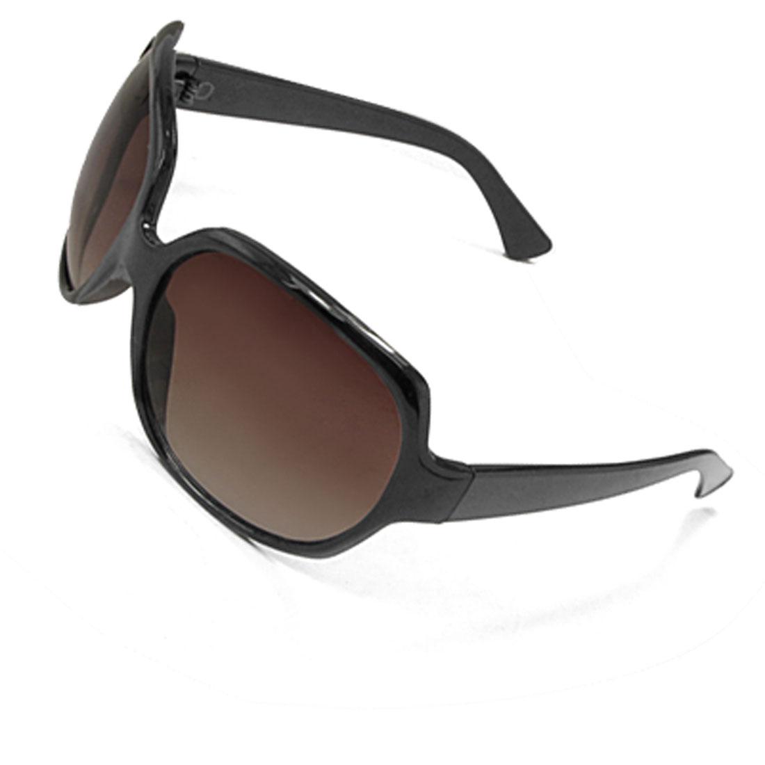 Women Black Plastic Full Frame Oversize Lens Sunglasses