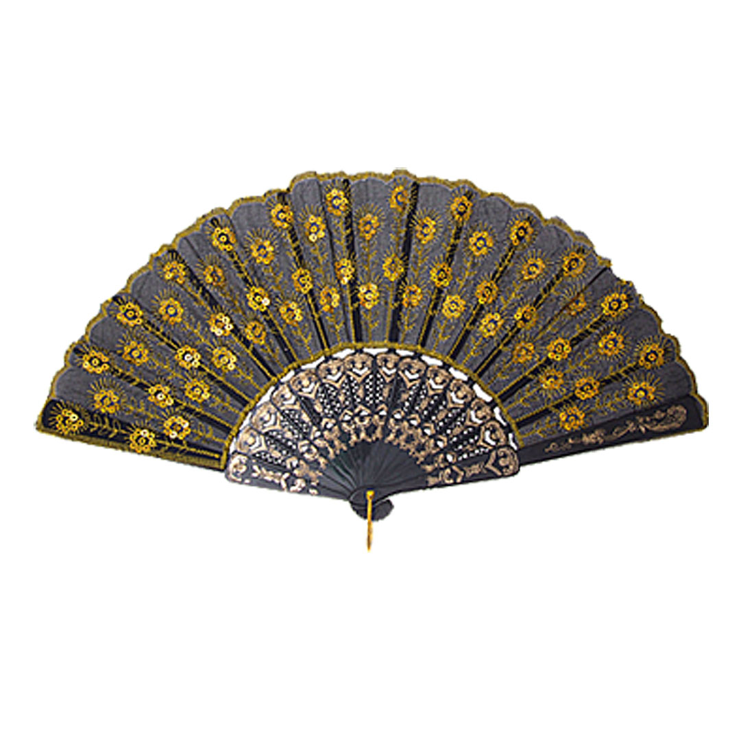 Black Peacock Style Cloth Yellow Sequin Embroider Hand Fan