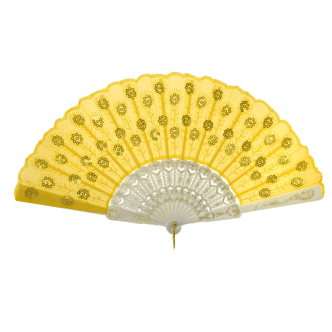 Yellow Peacock Style Cloth Gold Tone Sequin Embroider Hand Fan
