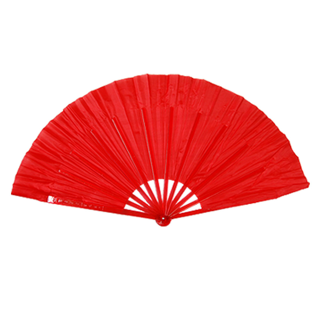 Polyester Red Cloth Hard Plastic Handle Hand Fan for Ladies