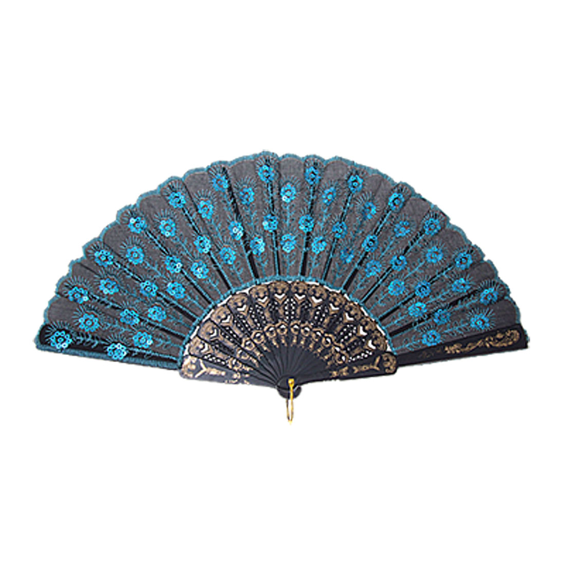 Black Peacock Style Cloth Blue Sequin Embroider Hand Fan