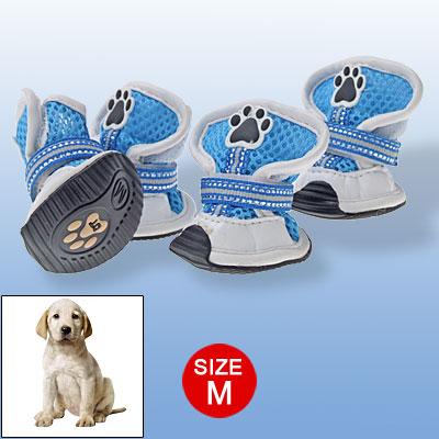 Black Rubber Antislip Mesh Boots Dog Shoes M Blue White