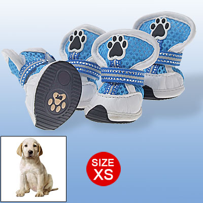 Blue Mesh Sport Dog Shoes XS Hook and Loop Fastener Protecive Boots White