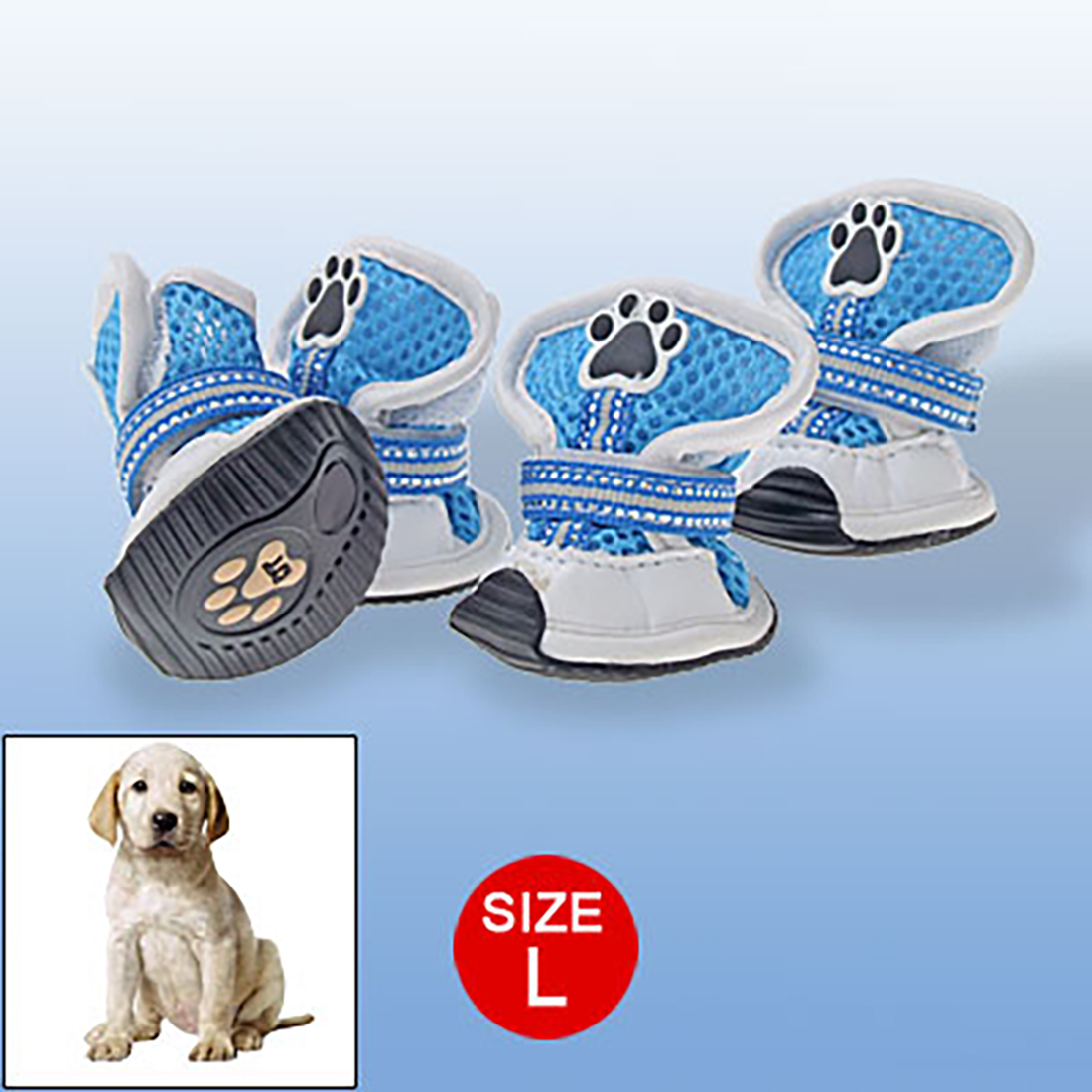 Blue White Pet Feet Protector Breathable Mesh Boots L