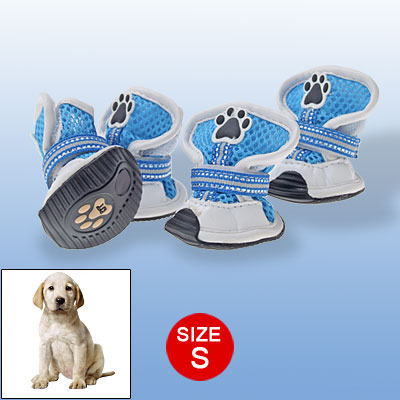 S PuppyBoots Faux Leather Dog Shoes Blue White