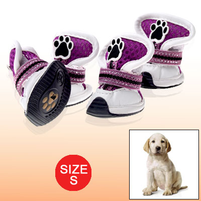 S Hook and Loop Fastener Boots Pet Paw Feet Protection Dog Shoes Purple White