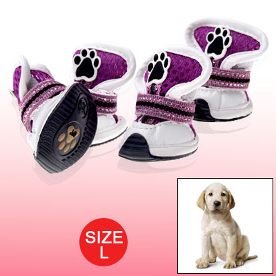 Purple White Breathable Booties Protector Dog Shoes L