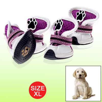 XL Hook and Loop Fastener Design Feet Protector Dog Shoes Purple White