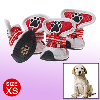 Red White Faux Leather Boots Puppy Dog Paw Protector XS