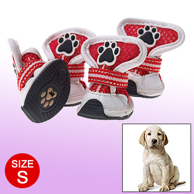 S Pet Puppy Boots Hook and Loop Fastener Protective Booties Red White