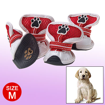 Red MeshPet Dogshoes Boots White Hook and Loop Fastener Design M