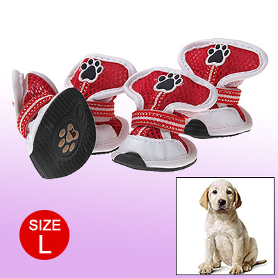Faux Leather Dogshoes L White Red Mesh Dog Boots Protector