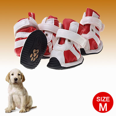 Nonslip Rubber Sole Dogshoes Red White Hook and Loop Fastener Dog Boots M