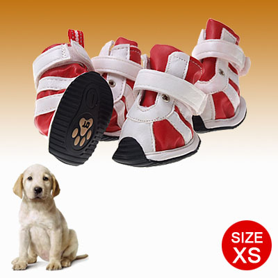 Faux Suede Protective Dogshoes Hook and Loop Fastener Boots White Red XS