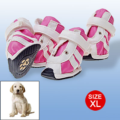 Hook and Loop Fastener Design Dog Shoes Toes Protector Fuchsia White XL