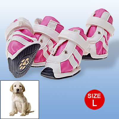 Fuchsia Pet Shoes L Paw Feet Protector Hook and Loop Fastener Design White