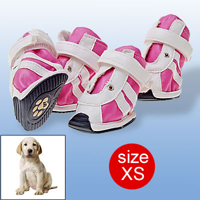 Fuchsia Hook and Loop Fastener Pet Dog Shoes Boots Faux Suede White XS