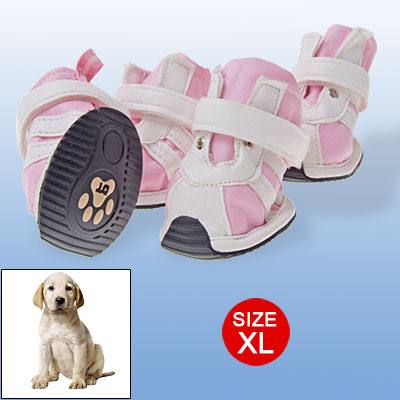 XL Dog Shoes Faux Suede Leather Pet Supplies Pink White