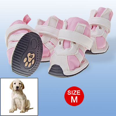 Hook and Loop Fastener Protective Dog Shoes Rubber Outsole Pink White M