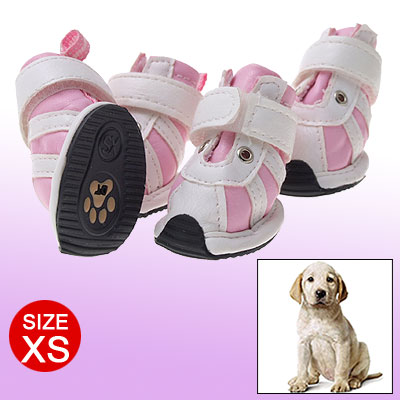 Pink White Puppy Dog Shoes Hook and Loop Fastener Feet Protector XS