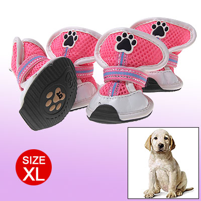 XL Paw Toes Protection Dog Shoes Hook and Loop Fastener Design Pink White