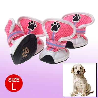 White Pink Mesh Dog Shoes Paw Feet Protector Boots L