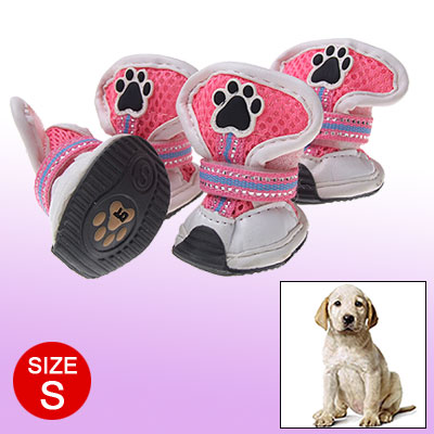 S Hook and Loop Fastener Protective Booties White Pink Mesh Dog Shoes