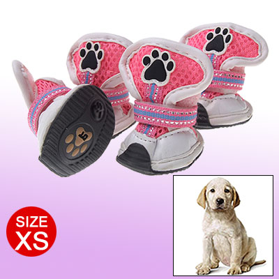 Pink Mesh Dog Shoes XS Faux Leather Pet Boots White XS