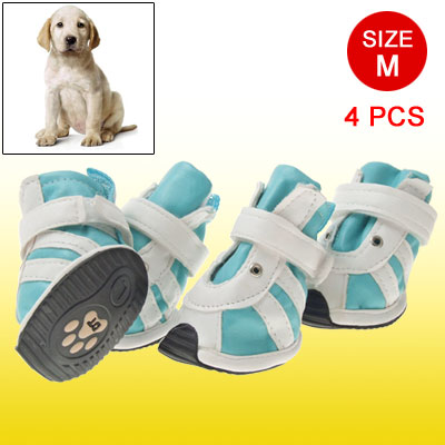 Hook and Loop Fastener Closure Faux Leather Dog Shoes Boots Blue White M