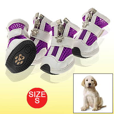 Hook and Loop Fastener Closure Mesh Purple White Dog Shoes Pet Boots S