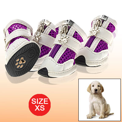 Puple White Net Dog Shoes Pet Puppy Hook and Loop Fastener Boots