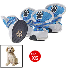 Blue Mesh Sport Dog Shoes XS Velcro Protecive Boots White