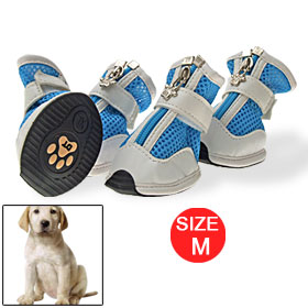 Nonslip Outsole Blue White Net Zipper Closure Dog Shoes