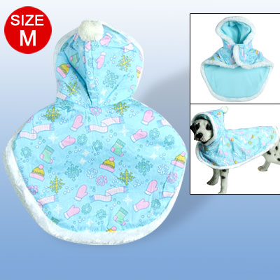 Winterproof Hooded Shawl Plush Pet Clothes Blue M