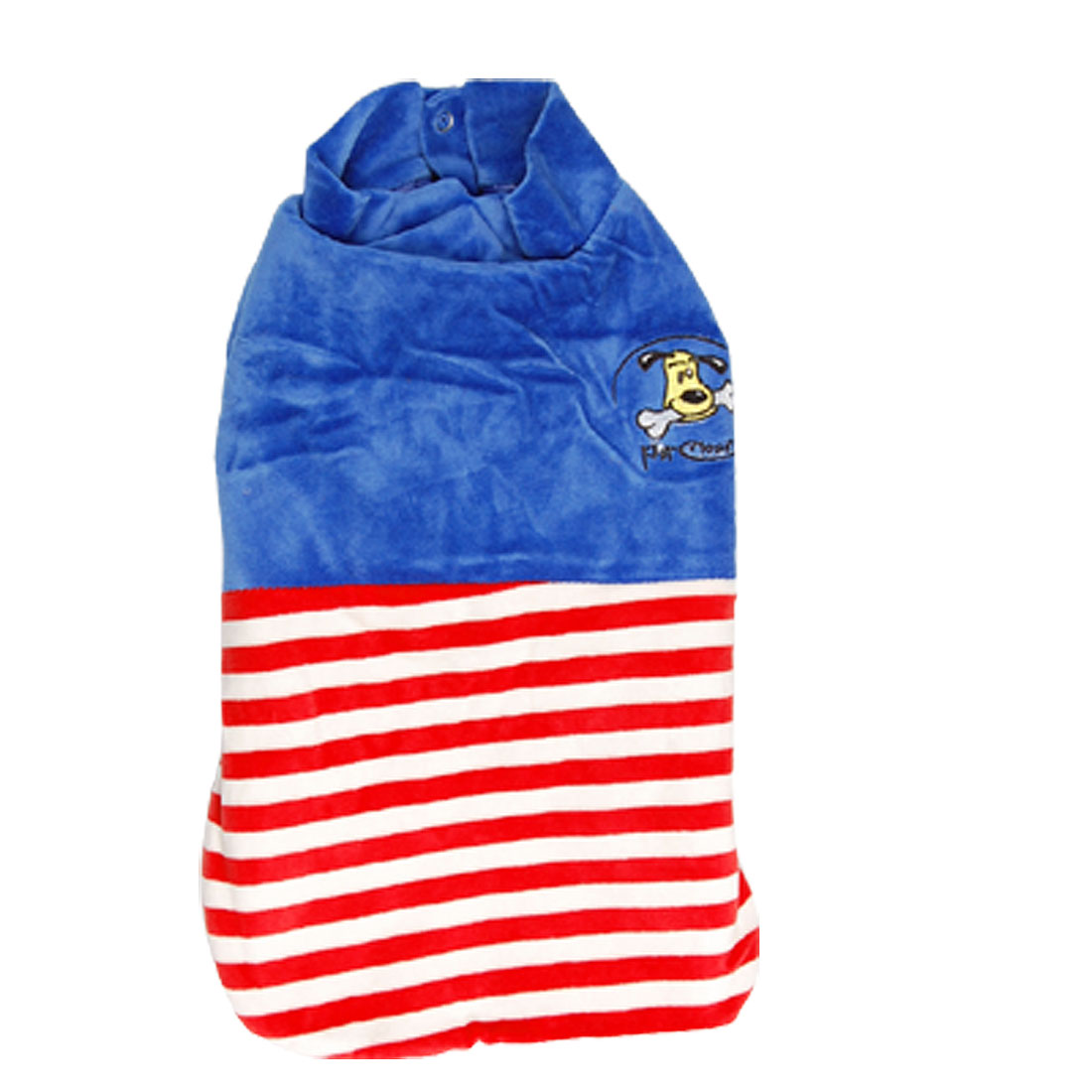 Small Winter Pet Puppy Dog Apparel Blue Velvet Coat Jacket Striped Size S