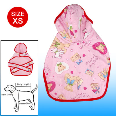 Cartoon Dog Pajamas XS Pet Hooded Clothes Pink